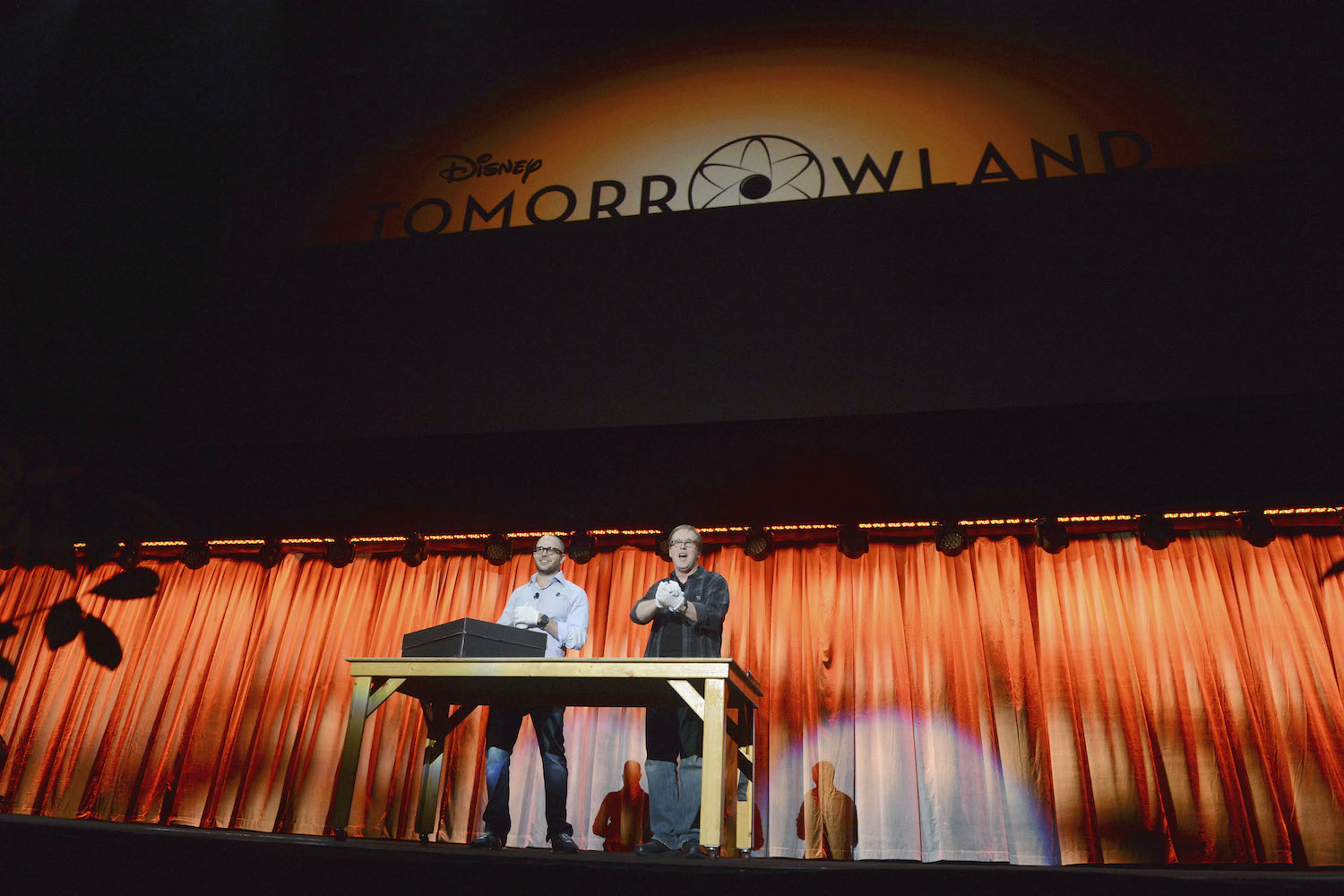 Lindelof (left) and Bird (right) tease Tomorrowland at the D23 Expo