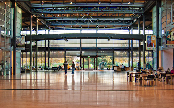 The atrium in Pixar's Steve Jobs Building